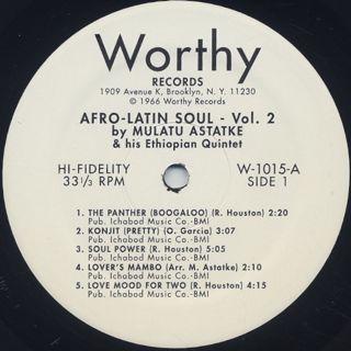 Mulatu Astatke & His Ethiopian Quintet / Afro-Latin Soul Vol.2 label