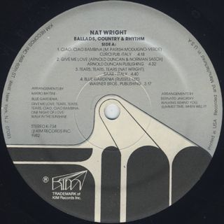 Nat Wright / Ballads, Country And Rhythm label