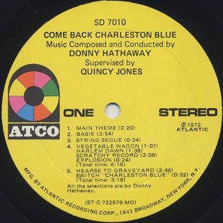 O.S.T.(Donny Hathaway) / Come Back Charleston Blue label