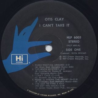 Otis Clay / I Can't Take It label