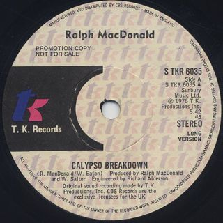 Ralph MacDonald / Calypso Breakdown back
