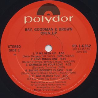 Ray, Goodman & Brown / Open Up label