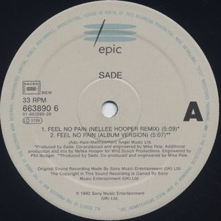 Sade / Feel No Pain (Nellee Hooper Mixes) label