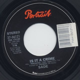 Sade /  Is It A Crime? c/w Punch Drunk label