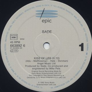 Sade / Kiss Of Life label