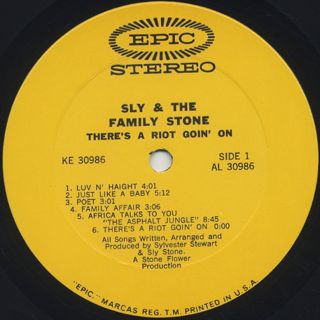 Sly and The Family Stone / There's A Riot Goin' On label
