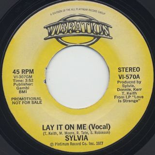 Sylvia / Lay It On Me (45) back