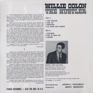 Willie Colon / The Hustler back