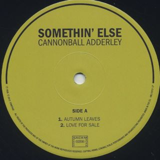 Cannonball Adderley / Somethin' Else label