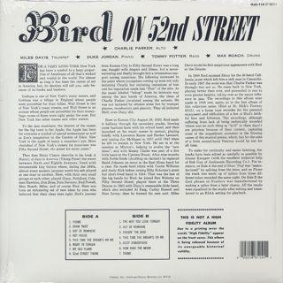 Charlie Parker / Bird On 52nd Street back