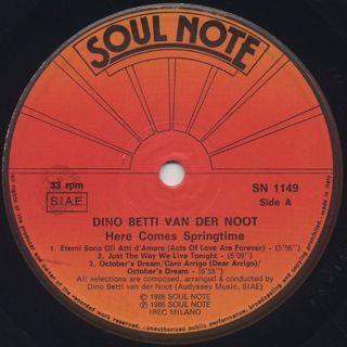 Dino Betti Van Der Noot / Here Comes Springtime label