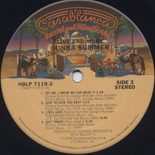 Donna Summer / Live And More label