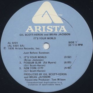 Gil Scott Heron And Brian Jackson / It's Your World label