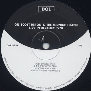 Gil Scott-Heron & The Midnight Band / Live In Berkeley 1978 label