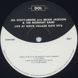 Gil Scott-Heron with Brian Jackson & The Midnight Band / Live At Wrvr Village Gate 1976 label