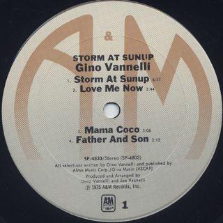 Gino Vannelli / Storm At Sunup label