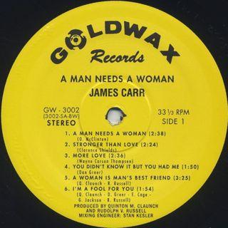 James Carr / A Man Needs A Woman label