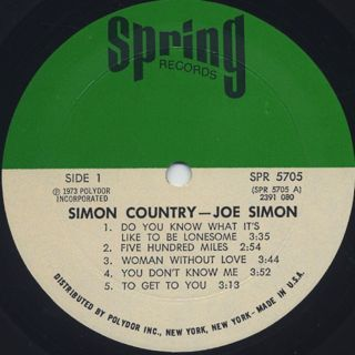 Joe Simon / Simon Country label