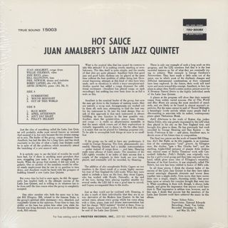 Juan Amalbert's Latin Jazz Quintet / Hot Sauce back