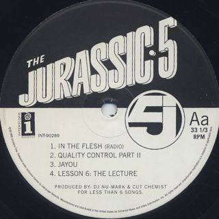 Jurassic 5 / Jurassic 5 EP label