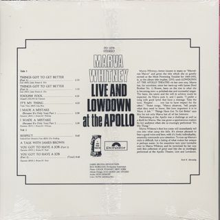 Marva Whitney / Live And Lowdown at the Apollo back