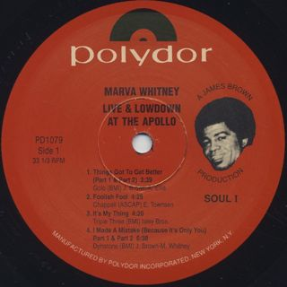 Marva Whitney / Live And Lowdown at the Apollo label
