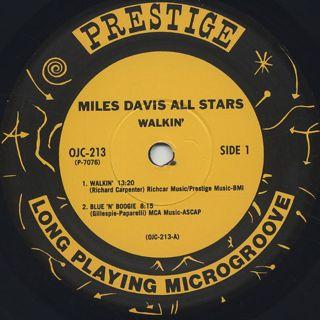 Miles Davis All Stars / Walkin' label