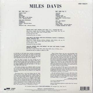 Miles Davis / Volume 1 back