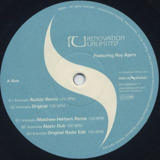 Renovation Unlimited Featuring Roy Ayers / Antonata back