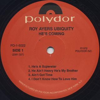 Roy Ayers Ubiquity / He's Coming label