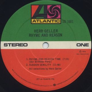 Herb Geller / Rhyme And Reason label