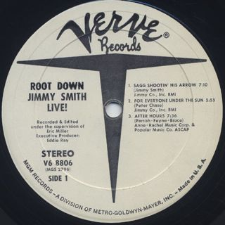 Jimmy Smith / Root Down Live! label