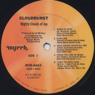 Mighty Clouds Of Joy / Cloudburst label
