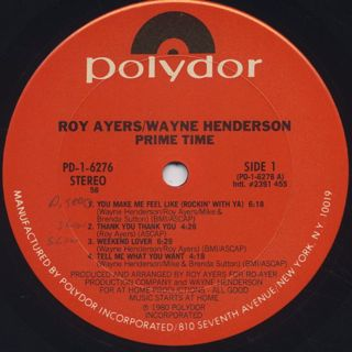 Roy Ayers Wayne Henderson / Prime Time label