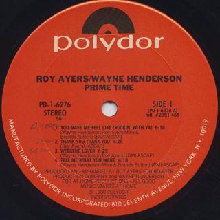 Roy Ayers Wayne Henderson / Prime Time label