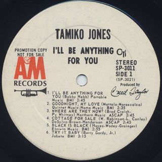 Tamiko Jones / I'll Be Anything For You label