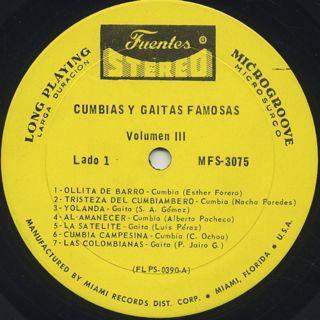 V.A. / Cumbias Y Gaitas Famosas De Colombia Vol. 3 label