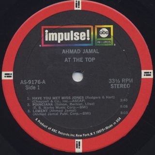 Ahmad Jamal / At The Top label