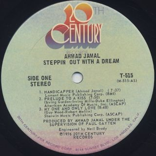 Ahmad Jamal / Steppin Out With A Dream label