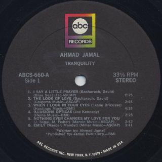 Ahmad Jamal / Tranquility label