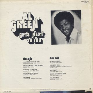 Al Green / Get's Next To You back