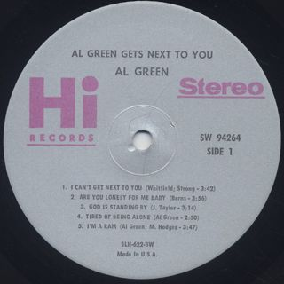 Al Green / Get's Next To You label