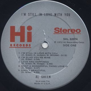 Al Green / I'm Still In Love With You label