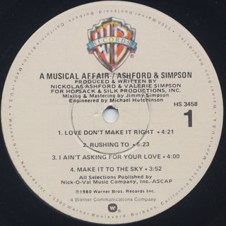 Ashford and Simpson / A Musical Affair label