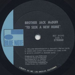 Brother Jack McDuff / To Seek A New Home label