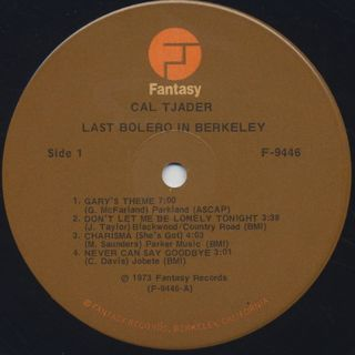 Cal Tjader / Last Bolero In Berkeley label