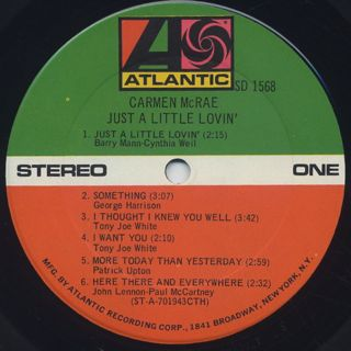 Carmen McRae / Just A Little Lovin label