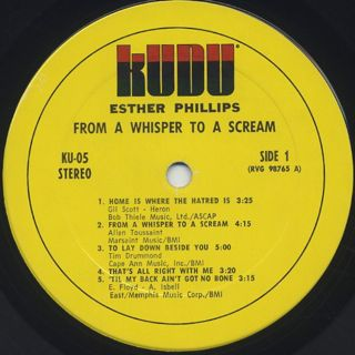 Esther Phillips / From A Whisper To A Scream label