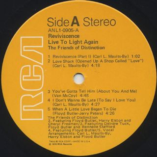 Friends Of Distinction / Reviviscence Live To Light label