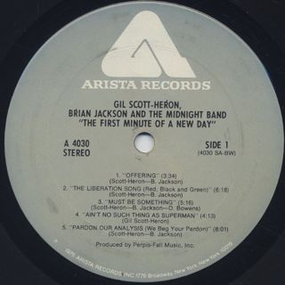 Gil Scott-Heron, Brian Jackson & The Midnight Band / The First Minute label